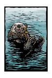 Sea Otter - Scratchboard Art