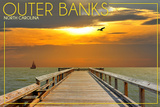 Outer Banks, North Carolina - Ocean and Sunset Posters by  Lantern Press