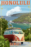 VW Van Coastal - Honolulu, Hawaii Print by  Lantern Press