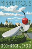 Minneapolis, Minnesota - Spoon Bridge and Cherry Prints by  Lantern Press