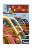 Malibu, California - Woodies Lined Up Prints by  Lantern Press