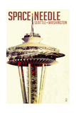 Space Needle - Double Exposure - Seattle, Washington Poster by  Lantern Press