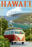 Hawaii - VW Van Cruise Prints by  Lantern Press