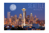 Seattle, Washington - Skyline and Full Moon Posters