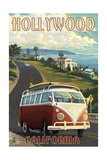Hollywood, California - VW Van Coastal Poster by  Lantern Press