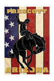Prescott, Arizona - Bronco Bucking and Flag Print
