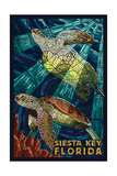 Siesta Key, Florida - Sea Turtle - Mosaic Prints by  Lantern Press