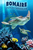 Bonaire, Dutch Caribbean - Sea Turtle Swimming Poster van  Lantern Press