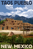 Taos Pueblo, New Mexico - Ruins Scene Print by  Lantern Press