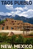 Taos Pueblo, New Mexico - Ruins Scene Print