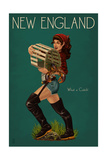 New England - Lobster Fishing Pinup Plakater af  Lantern Press