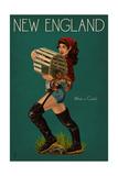 New England - Lobster Fishing Pinup Kunstdrucke von  Lantern Press