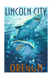 Lincoln City, Oregon - Stylized Tiger Sharks Posters by  Lantern Press