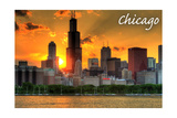 Chicago, Illinois - Skyline at Sunset Posters by  Lantern Press