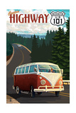 Cruise Highway 101, Washington - VW Van Scene Art by  Lantern Press