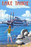 Lake Tahoe - MS Dixie II Paddleboat Art by  Lantern Press