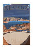 Nevada - Lake and Dam Prints by  Lantern Press