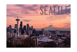 Seattle, Washington - Skyline at Twilight Poster by  Lantern Press