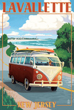 Lavallette, New Jersey - VW Van Drive Prints by  Lantern Press
