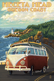 Heceta Head Lighthouse and VW Van Prints by  Lantern Press