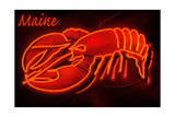 Maine - Neon Lobster Sign Art by  Lantern Press