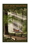 Great Smoky Mountains, North Carolina - Deer and Fawn Prints by  Lantern Press