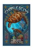 Charleston, South Carolina - Sea Turtle Art Nouveau Posters van  Lantern Press