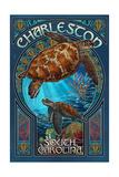 Charleston, South Carolina - Sea Turtle Art Nouveau Prints by  Lantern Press