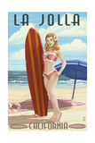 La Jolla, California - Pinup Surfer Prints by  Lantern Press