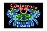 Delaware - Blue Crab Neon Sign Prints