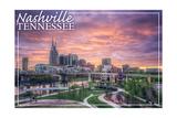 Nashville, Tennessee - Dawn Art by  Lantern Press