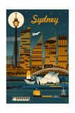Sydney, Australia - Retro Skyline Giclee-tryk i høj kvalitet af  Lantern Press