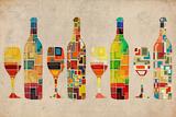 Wine Bottle and Glass Group Geometric Plakaty autor Lantern Press
