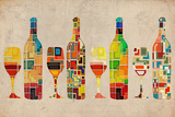 Lantern Press - Wine Bottle and Glass Group Geometric - Poster