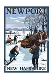 Newport, New Hampshire - Gathering Firewood Prints by  Lantern Press