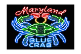 Maryland - Blue Crab Neon Sign Prints by  Lantern Press