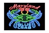 Maryland - Blue Crab Neon Sign Prints