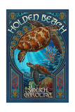 Holden Beach - South Carolina - Sea Turtle Art Nouveau Poster van  Lantern Press