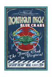 Northern Neck, Virginia - Blue Crab Vintage Sign Posters by  Lantern Press