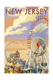 New Jersey - Pier and Sunset Posters by  Lantern Press
