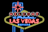 Las Vegas, Nevada - Neon Lights Welcome Sign Poster