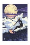 Night Surfer Prints by  Lantern Press