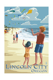 Lincoln City, Oregon - Kite Flyers Posters
