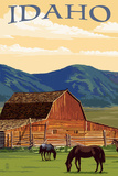 Idaho - Horses and Barn Print by  Lantern Press