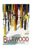 Bluewood, Washington - Colorful Skis Posters by  Lantern Press