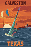 Galveston, Texas - Windsurfers and Sunset Prints by  Lantern Press