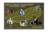 Soft Map - Great Smoky Mountains National Park, TN Prints by  Lantern Press