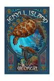 Jekyll Island, Georgia - Sea Turtle Art Nouveau Schilderij van  Lantern Press