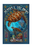 Jekyll Island, Georgia - Sea Turtle Art Nouveau Posters by  Lantern Press