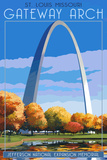 St. Louis, Missouri - Gateway Arch in Fall Posters by  Lantern Press